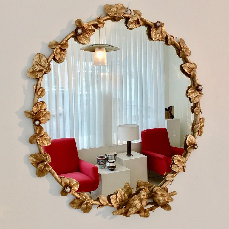 Gilt Bronze Decorative Wall Mirror by Fondica, circa 1990, France In Good Condition For Sale In Brussels, BE