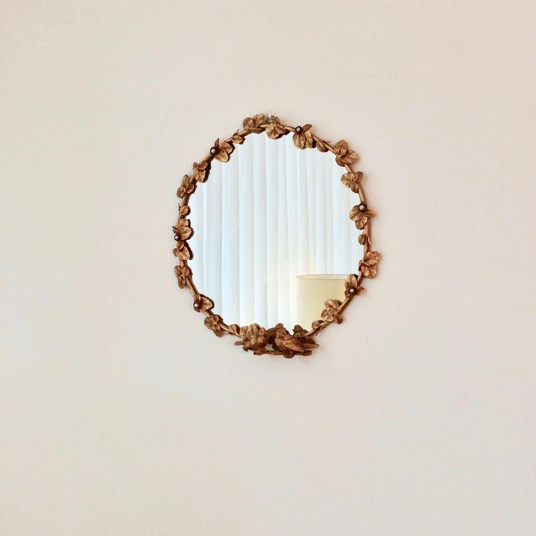Late 20th Century Gilt Bronze Decorative Wall Mirror by Fondica, circa 1990, France For Sale