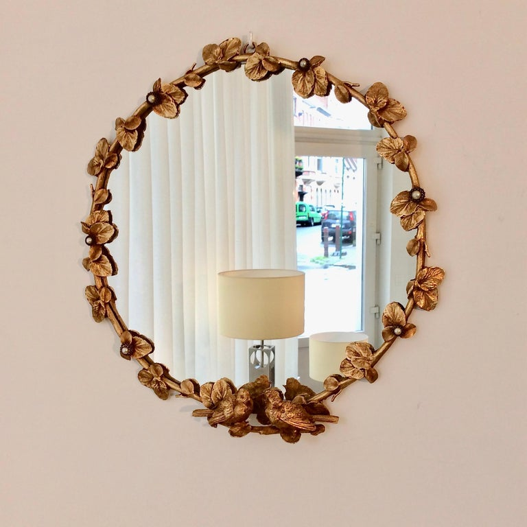 Gilt Bronze Decorative Wall Mirror by Fondica, circa 1990, France For Sale 1