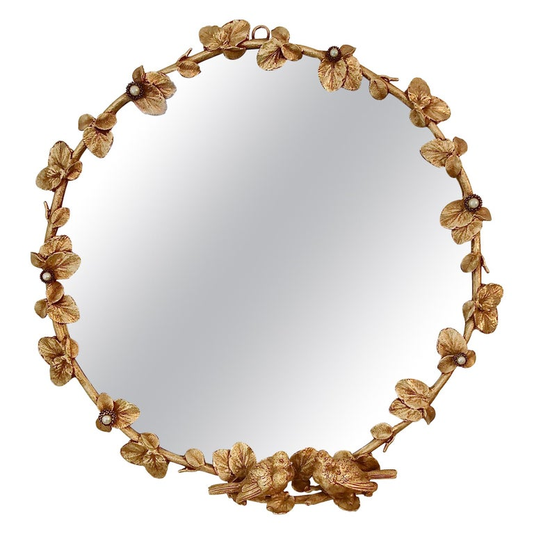 Gilt Bronze Decorative Wall Mirror by Fondica, circa 1990, France For Sale