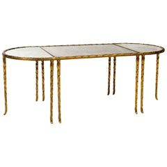 Gilt Bronze Eglomized Glass Top Cocktail Table by Maison Bagues