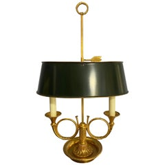 Gilt Bronze Empire French Two-Arm Bouillotte Desk lamp with Trumpets, Horns