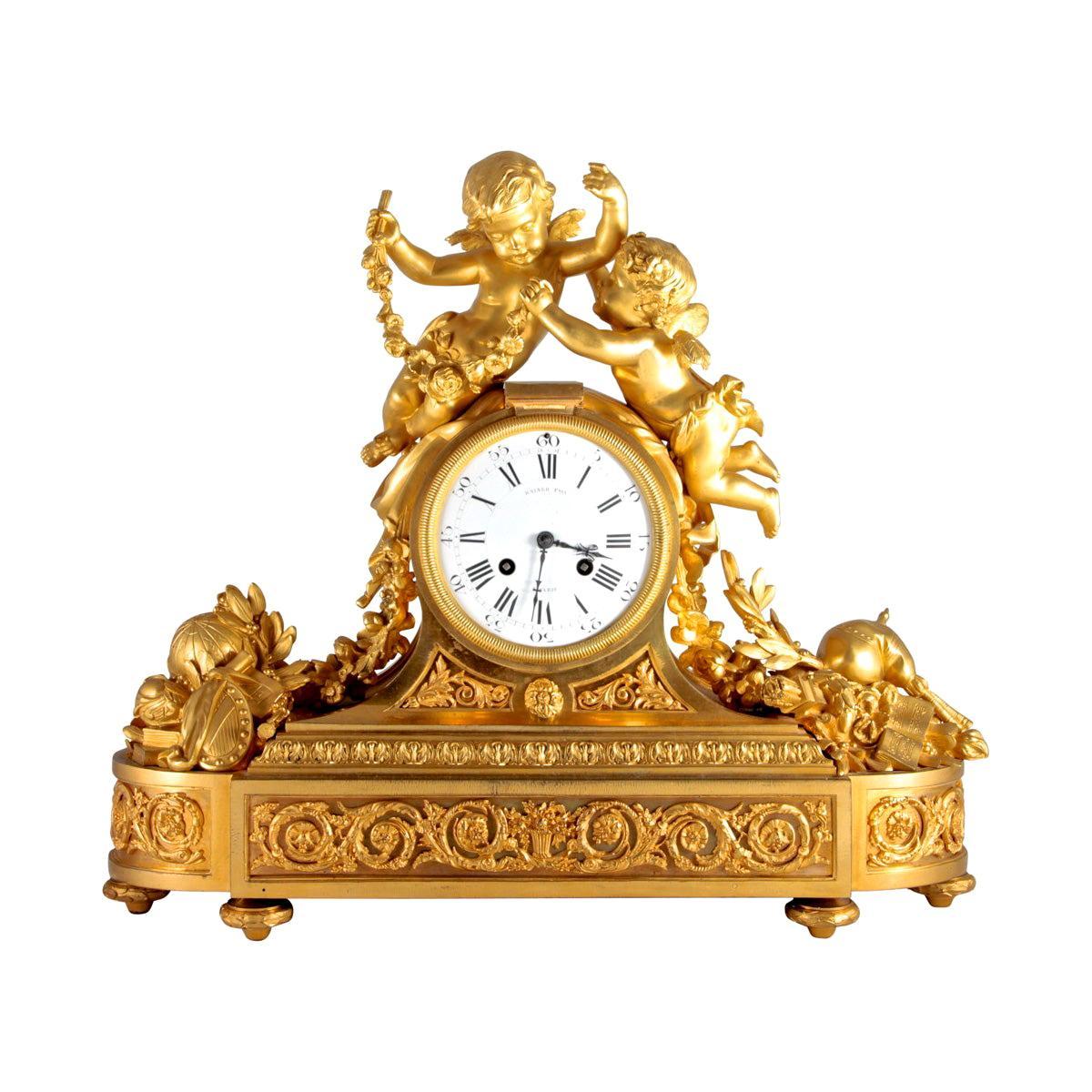 Gilt Bronze Figural Mantle Clock