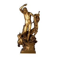 Gilt Bronze Figure of Oedipus and The Sphinx, by Francois Leon Sicard, 1862-1934