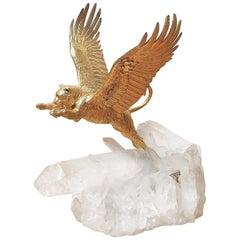 Gilt Bronze Flying Tiger on Rock Crystal