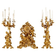 Gilt bronze garniture set