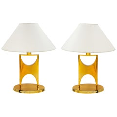 Gilt Bronze Lamps after Philippe Hiquily, France, 1970s