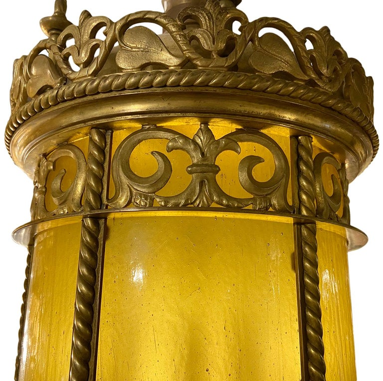American Gilt Bronze Lantern with Leaded Glass For Sale