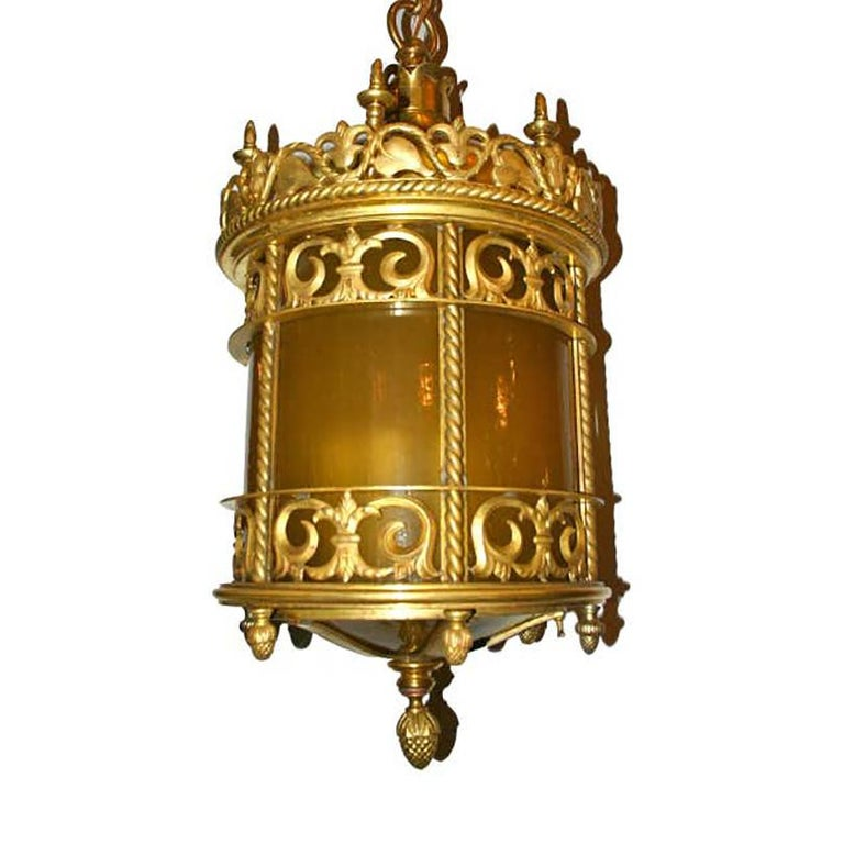 Gilt Bronze Lantern with Leaded Glass For Sale 1