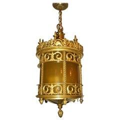 Gilt Bronze Lantern with Leaded Glass