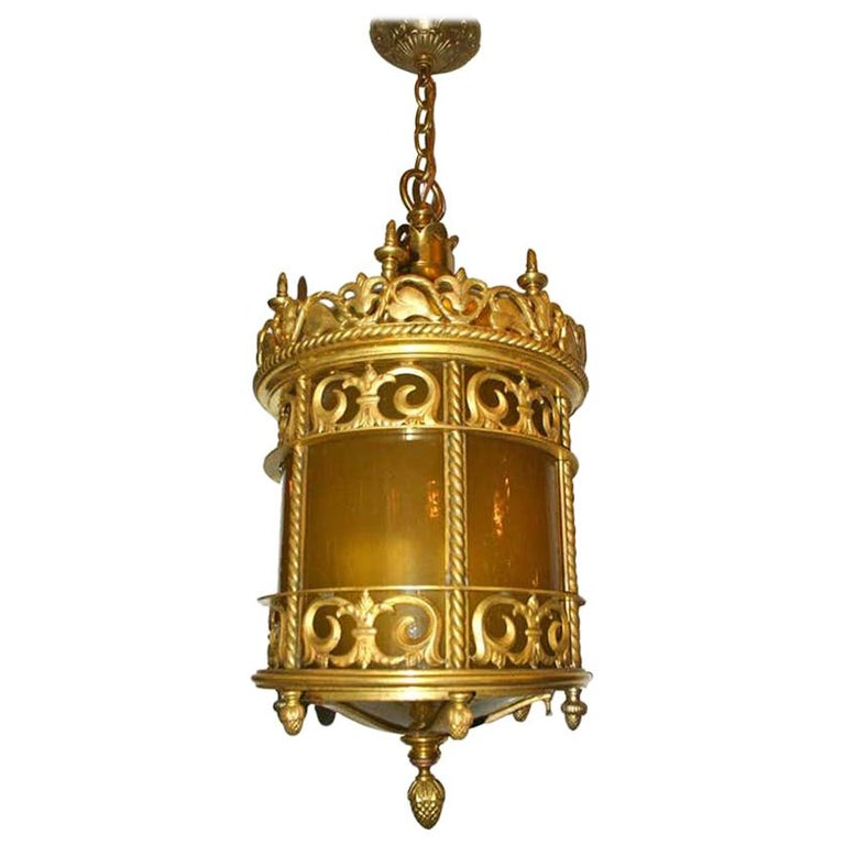 Gilt Bronze Lantern with Leaded Glass For Sale