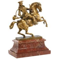 Gilt Bronze Man Riding a Horse on Rouge Marble Plinth, Austrian, 19th Century