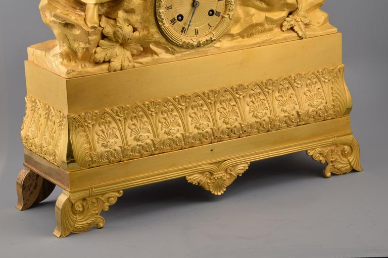Gilt bronze mantel clock, Couple. 19th century. In working order. For Sale 1