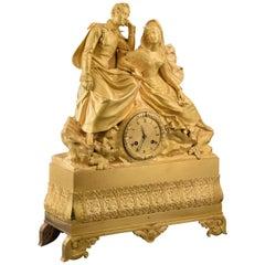 Gilt bronze mantel clock, Couple. 19th century. In working order.