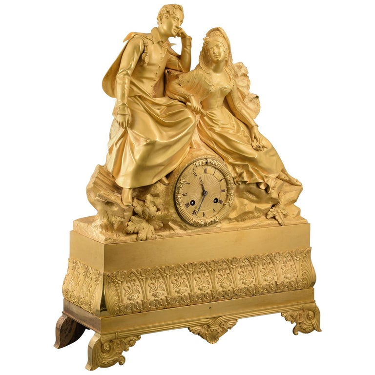 Gilt bronze mantel clock, Couple. 19th century. In working order. For Sale