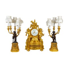 Gilt Bronze Mantel Set, 19th Century