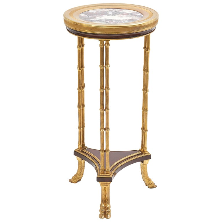 Gilt Bronze, Marble and Mahogany Guéridon after Weisweiler, circa 1900 For Sale
