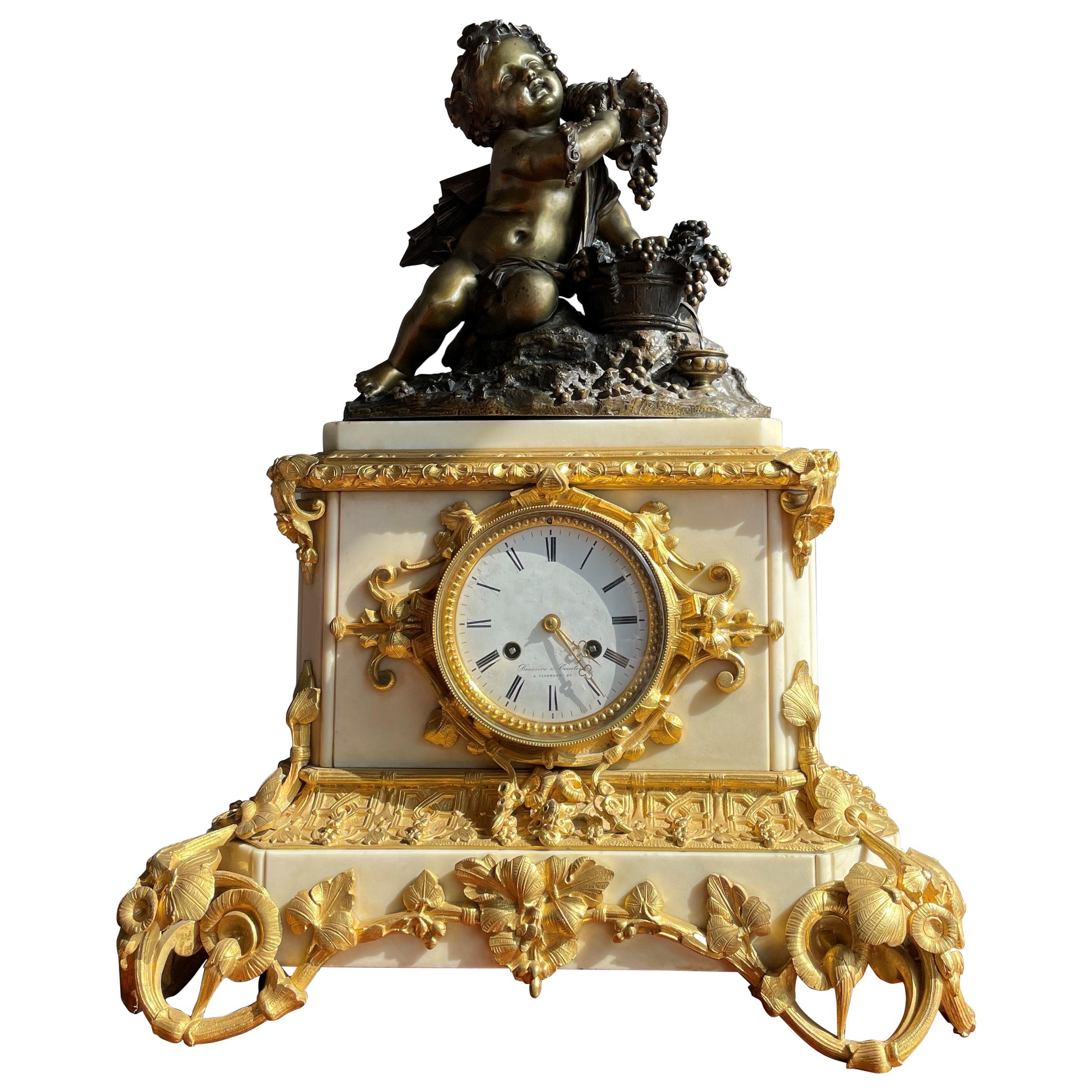 Gilt Bronze & Marble Belle Époque Mantel Clock w. Infant Bacchus Sculpture 1870s