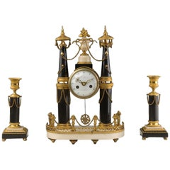 Gilt Bronze Marble Clock and Candlesticks, Louis XVI Period