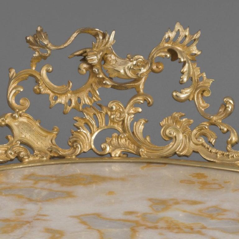 French Gilt Bronze-Mounted Champlevé Enamel, Alabaster Fiorito Centrepiece, circa 1900 For Sale