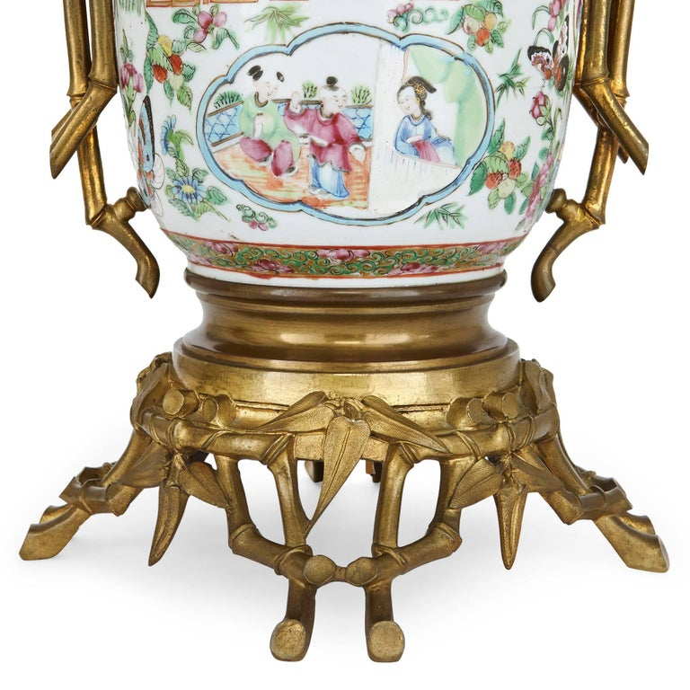 19th Century Gilt Bronze Mounted Chinese Canton Famille Rose Porcelain Lamps For Sale