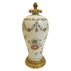 Gilt Bronze Mounted Chinese Export Porcelain Lamp by E F Caldwell