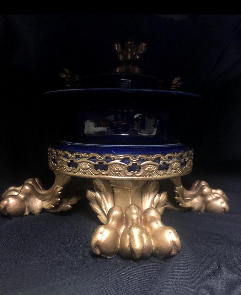 Italian Gilt Bronze Mounted Cobalt Blue Porcelain Centerpiece For Sale