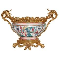 Gilt Bronze Mounted Famille Rose Porcelain Bowl