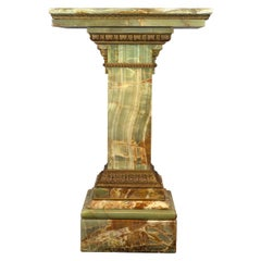 Gilt-Bronze Mounted Green Onyx Pedestal with Revolving Top
