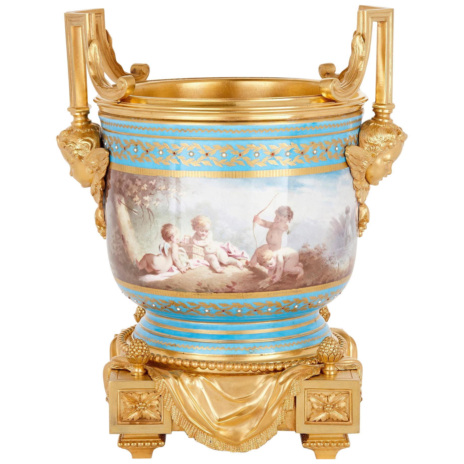 Gilt Bronze Mounted Louis XV Style Porcelain Jardinière