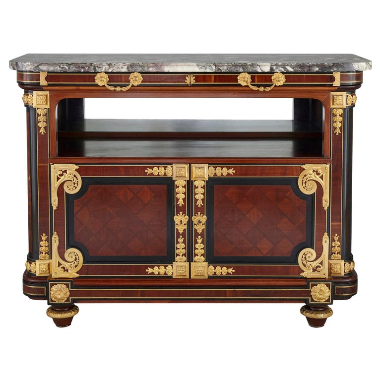 Gilt Bronze Mounted Mahogany Side Cabinet by Mercier Frères For Sale