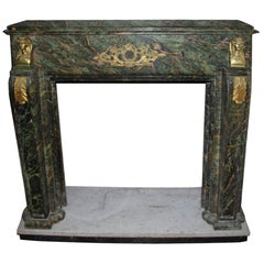 Gilt Bronze-Mounted on Sea Green Marble Chimneypiece End of the 19 Century