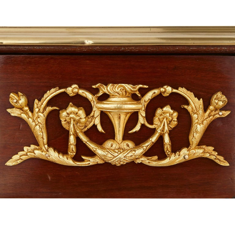 Wood Gilt Bronze Mounted Parquetry Desk, Attributed to Donald Ross For Sale