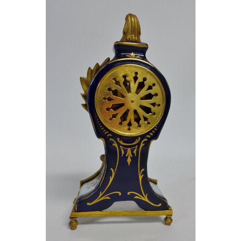 German Gilt Bronze Mounted Porcelain Clock For Sale