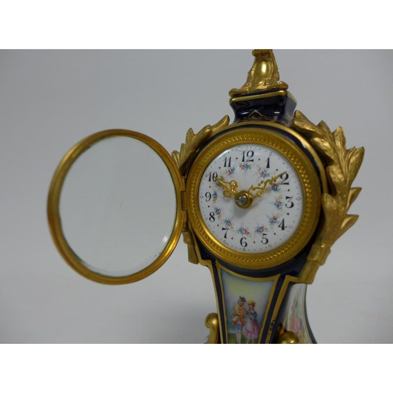 Early 20th Century Gilt Bronze Mounted Porcelain Clock For Sale