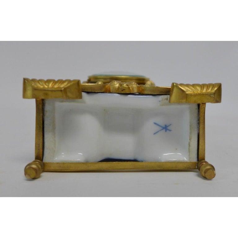 Gold Plate Gilt Bronze Mounted Porcelain Clock For Sale