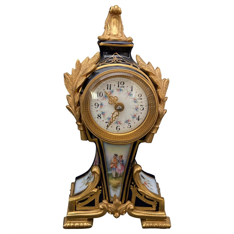 Gilt Bronze Mounted Porcelain Clock For Sale