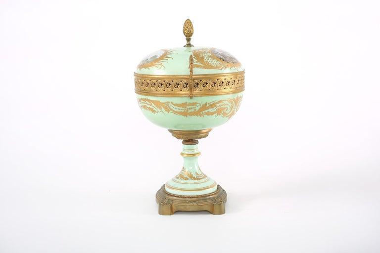 Gilt Bronze Mounted / Sevres Porcelain Covered Urn For Sale 5