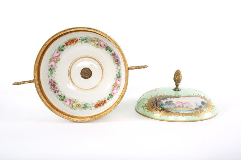 Glazed Gilt Bronze Mounted / Sevres Porcelain Covered Urn For Sale