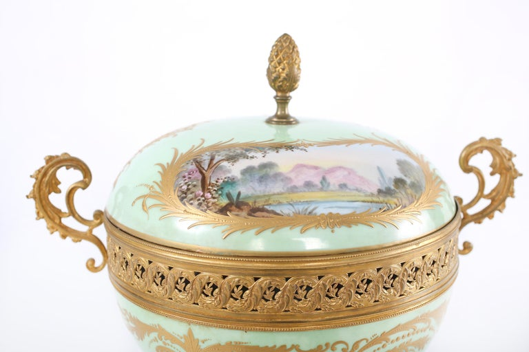 Gilt Bronze Mounted / Sevres Porcelain Covered Urn In Good Condition For Sale In Hudson, NY