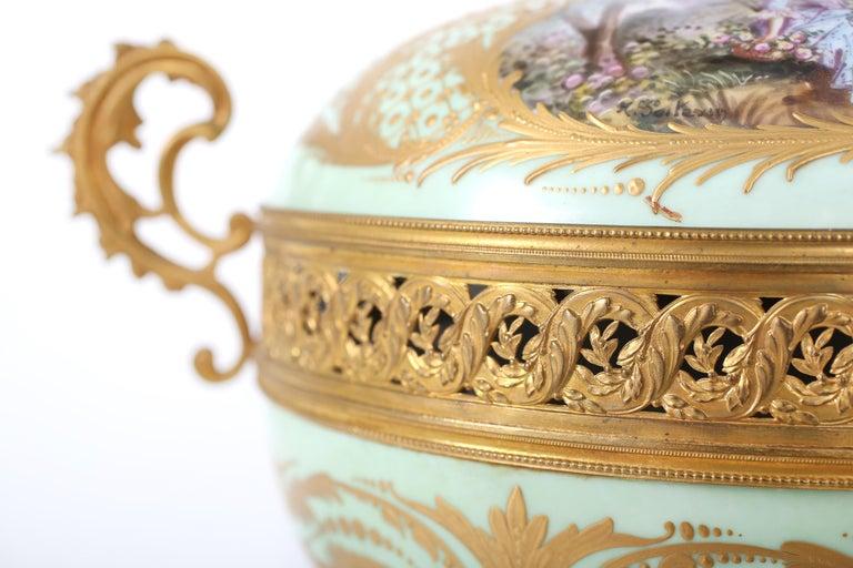 Gilt Bronze Mounted / Sevres Porcelain Covered Urn For Sale 3
