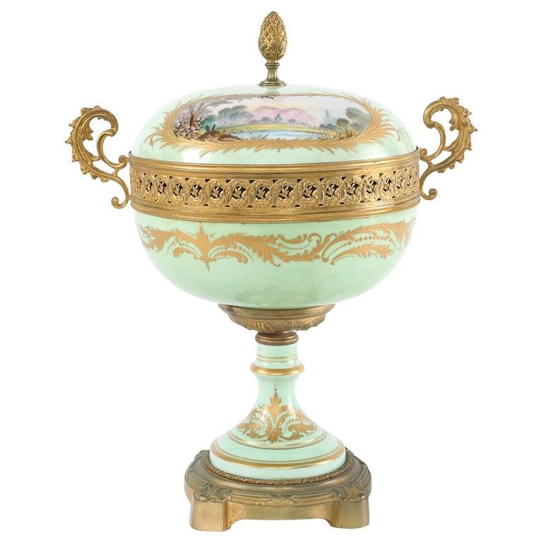 Gilt Bronze Mounted / Sevres Porcelain Covered Urn For Sale