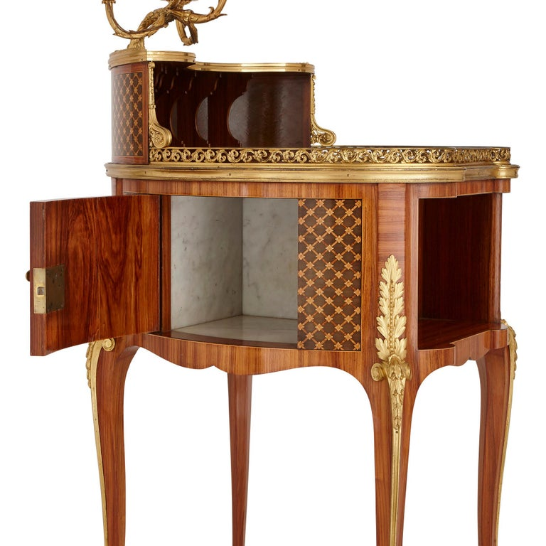 French Gilt Bronze-Mounted Tulipwood, Sycamore and Marquetry Writing Table by Dasson  For Sale