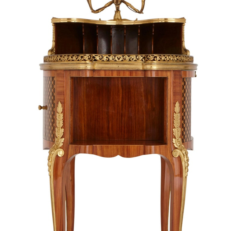 Wood Gilt Bronze-Mounted Tulipwood, Sycamore and Marquetry Writing Table by Dasson  For Sale