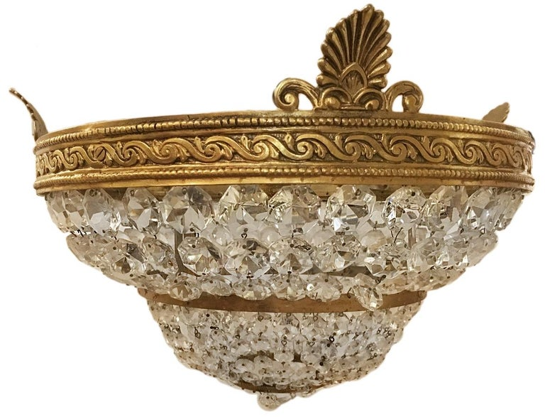 French Gilt Bronze Neoclassic Flush Mount Fixture For Sale