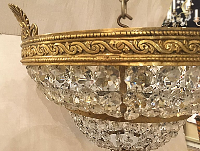 Gilt Bronze Neoclassic Flush Mount Fixture In Good Condition For Sale In New York, NY