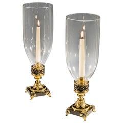 Gilt Bronze Pair of Regency Storm Lights