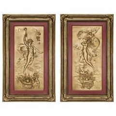 Gilt Bronze Plaques Depicting Apollo and Selene by Karl Sterrer, Austrian