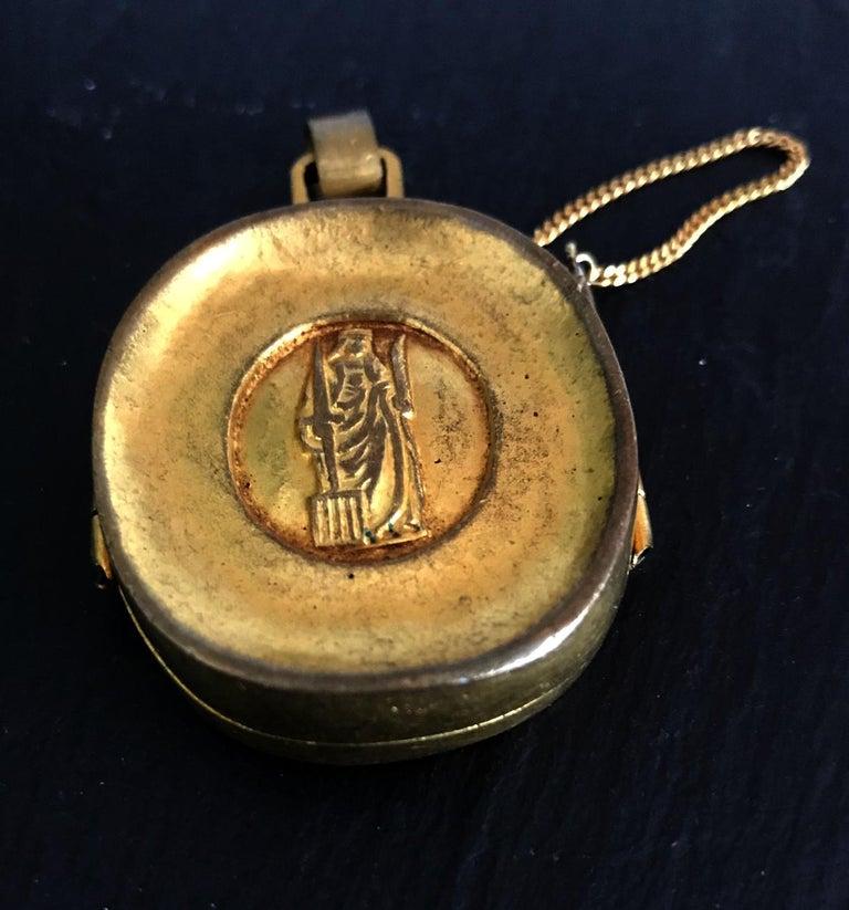 Gilt Bronze Reliquary Pendant by Line Vautrin In Good Condition For Sale In North Miami, FL