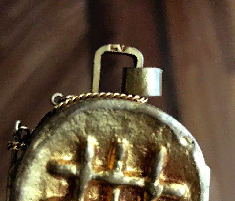 Mid-20th Century Gilt Bronze Reliquary Pendant by Line Vautrin For Sale